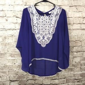 Umgee Purple Crochet Detail Blouse. Angel sleeves.